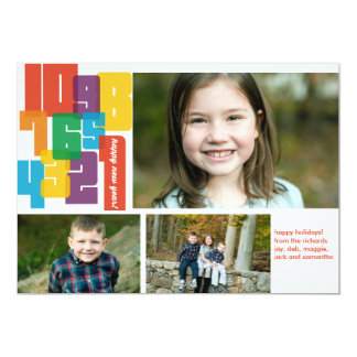Colorful New Year 3 Photo Holiday Card