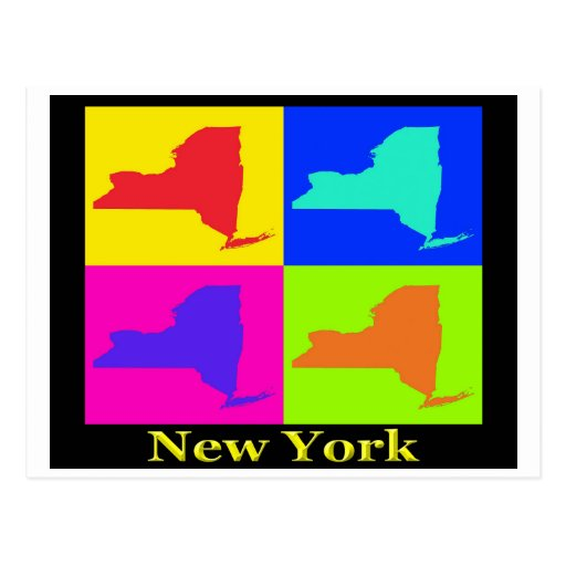 Colorful New York State Pop Art Map Postcards