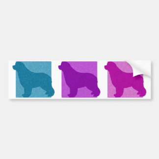 Colorful Newfoundland Silhouettes Bumper Sticker