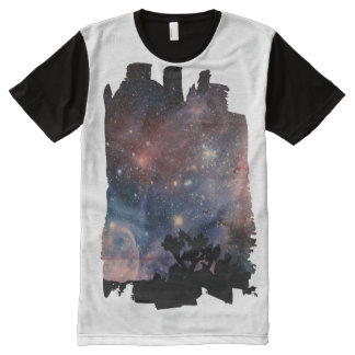 Colorful Night Sky while Camping & Reading All-Over Print T-Shirt