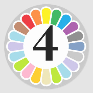 colorful number 4 sticker