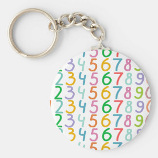Colorful Numbers Pattern Basic Round Button Key Ring