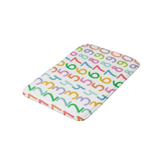 Colorful Numbers Pattern Bath Mat