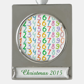 Colorful Numbers Pattern Silver Plated Banner Ornament