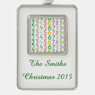 Colorful Numbers Pattern Silver Plated Framed Ornament
