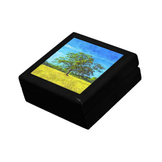 Colorful Oak Tree Painting for Family Celebration Small Square Gift Box