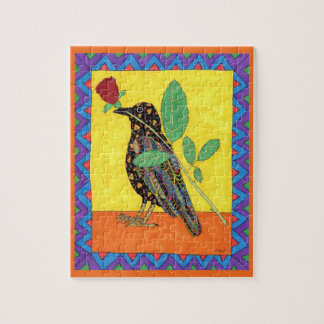 Colorful Oaxacan Crow & Rose Mexican Folk Art Jigsaw Puzzle