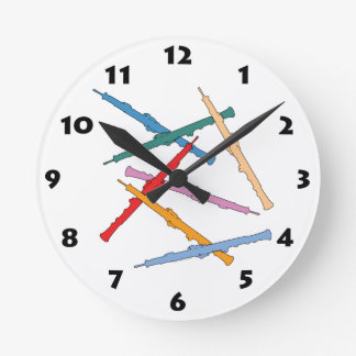 Colorful Oboe Round Clock