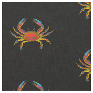 Colorful Ocean Crab Cotton Fabric