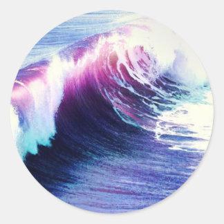 Colorful  Ocean Waves Round Sticker