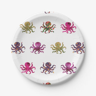Colorful octopus pattern 7 inch paper plate