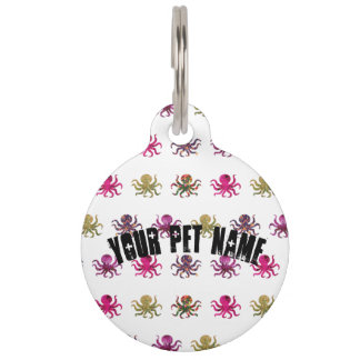 Colorful octopus pattern pet name tags