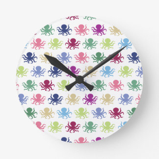 Colorful octopus pattern round clock