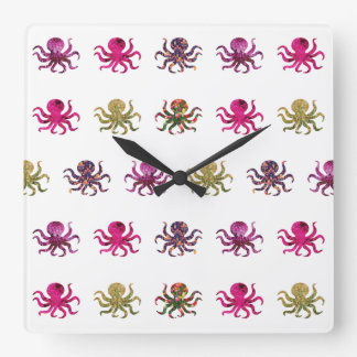 Colorful octopus pattern square wall clock