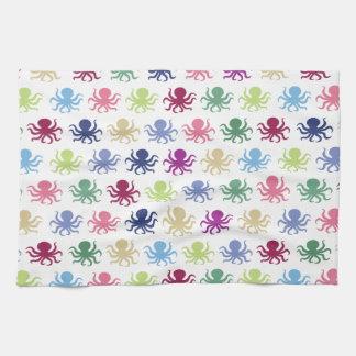 Colorful octopus pattern tea towel