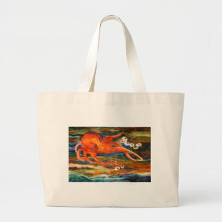 Colorful Octopus Scuba Diving Large Tote Bag