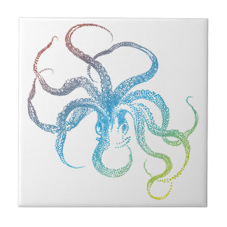 colorful octopus silhouette tile