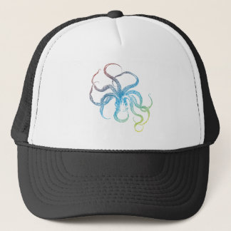 colorful octopus silhouette trucker hat