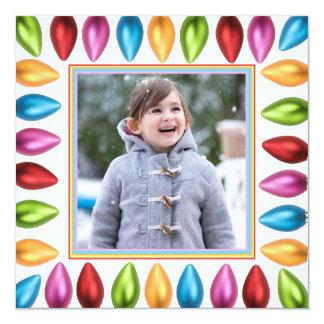 Colorful Old Fashioned Big Christmas Lightbulbs 13 Cm X 13 Cm Square Invitation Card