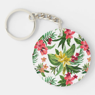 Colorful Oleander Pattern Double-Sided Round Acrylic Key Ring