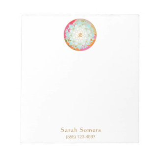 Colorful Om Lotus Flower Personalized Notepad