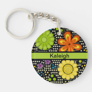 Colorful Orange Green and Yellow Flowers on Black Double-Sided Round Acrylic Key Ring