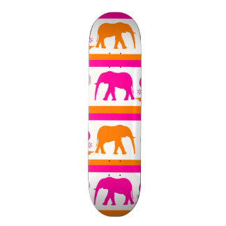 Colorful Orange Hot Pink Elephants Paisley Hearts Skate Boards