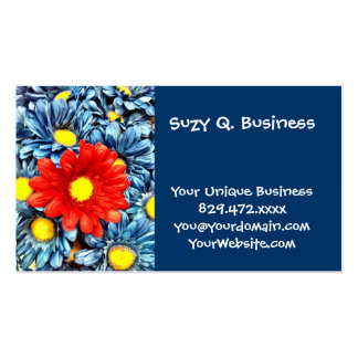 Colorful Orange Red Blue Gerber Daisies Flowers Business Card Templates