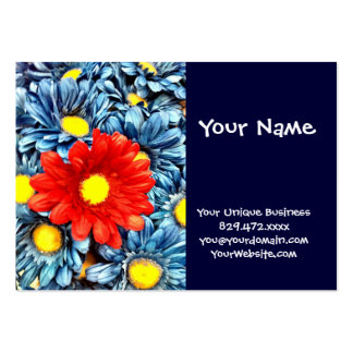 Colorful Orange Red Blue Gerber Daisies Flowers Large Business Cards (Pack Of 100)