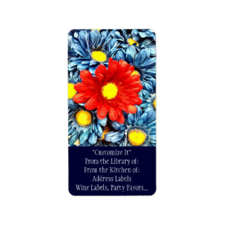 Colorful Orange Red Blue Gerber Daisies Flowers Address Label