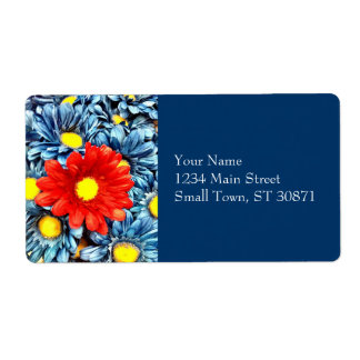 Colorful Orange Red Blue Gerber Daisies Flowers Shipping Label
