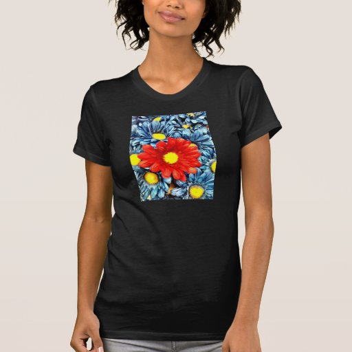 Colorful Orange Red Blue Gerber Daisies Flowers Tee Shirts