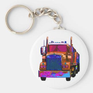 Colorful Orange Semi Truck Basic Round Button Key Ring