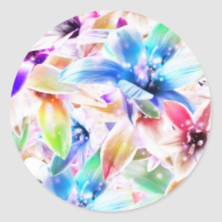 Colorful orchid flower illustration round sticker