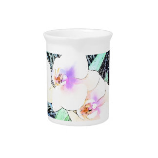 Colorful Orchid Flowers Pitcher