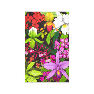 Colorful Orchid Garden Wrapped Canvas Gallery Wrapped Canvas