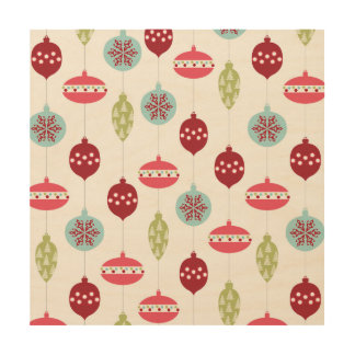 Colorful Ornament Pink Red Green Christmas Holiday Wood Canvases