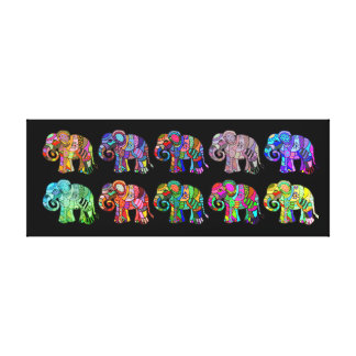 Colorful ornamental psychedelic elephant parade canvas print
