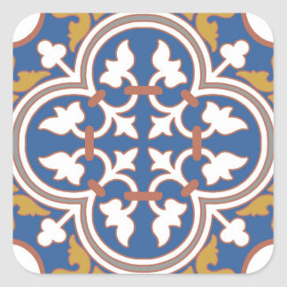 Colorful Ornamental Tile Pattern Square Sticker