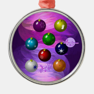 Colorful Ornaments Silver Round Christmas Ornament