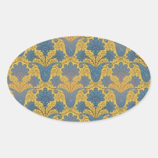colorful ornate damask.ai oval sticker