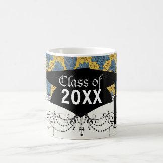 colorful ornate damask graduation basic white mug