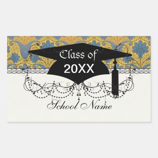 colorful ornate damask graduation sticker