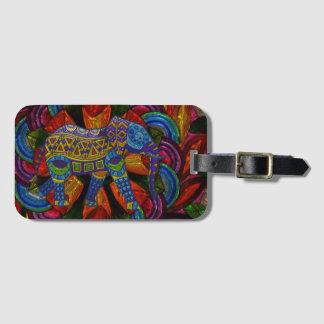 Colorful Ornate Elephant and Mandala Luggage Tag