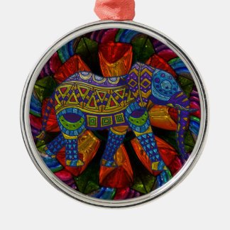 Colorful Ornate Elephant and Mandala Silver-Colored Round Decoration