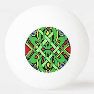 Colorful Ornate Irish Celtic Knot Ping Pong Ball