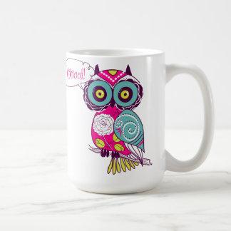 Colorful Ornate Retro Floral Hot Pink Owl Mug Basic White Mug