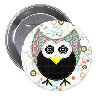 Colorful Owl Button Pin