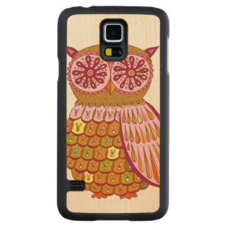 Colorful Owl Carved Maple Galaxy S5 Case