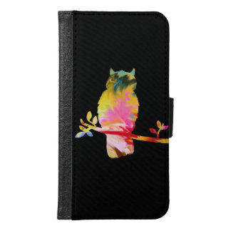 Colorful Owl Cell Phone Cover, black Samsung Galaxy S6 Wallet Case